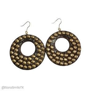 {ANTHROPOLOGIE} Brown Wood Gold Studded Earrings
